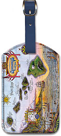 Map of Old Hawaii - Vintage Hawaiian Art Leatherette Luggage Tags