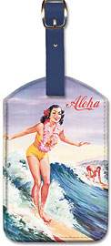 Surfer Girl - Aloha - Hawaiian Leatherette Luggage Tags