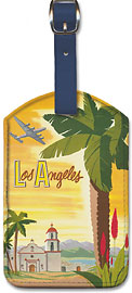 Fly TWA Los Angeles, Palm - Leatherette Luggage Tags