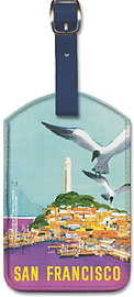 American Airlines San Francisco, Wharf and Bay Bridge - Leatherette Luggage Tags