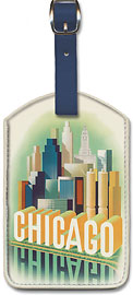 American Airlines, Chicago Skyscrapers - Leatherette Luggage Tags