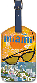 Miami TWA - Sunglasses - Leatherette Luggage Tags