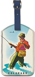 United Airlines - Colorado Fisherman - Leatherette Luggage Tags