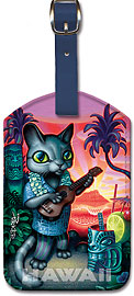 Tiki Cat - Hawaiian Leatherette Luggage Tags