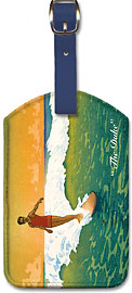 The Duke, Hawaiian Duke Kahanamoku Surfing - Hawaiian Leatherette Luggage Tags