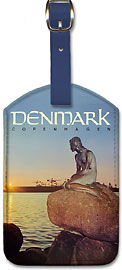 Denmark Copenhagen - Langelinie Little Mermaid Statue - Leatherette Luggage Tags