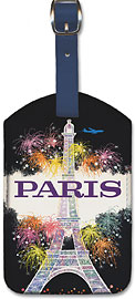 Trans World Airlines - Fly TWA Jets - Paris, Eiffel Tower, Fireworks - Leatherette Luggage Tags