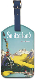 Switzerland - Lake Lucerne Swiss Alps - Fly TWA (Trans World Airlines) - Leatherette Luggage Tags