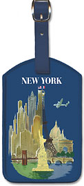 Amérique du Nord (North America) - Aviation - New York City and Paris landmarks - Leatherette Luggage Tags