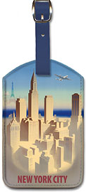 New York City Skyline - Leatherette Luggage Tags