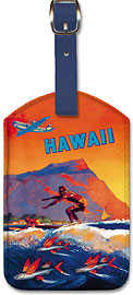 Fly To Hawaii by Clipper, Pan American World Airways - Hawaiian Leatherette Luggage Tags