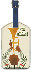 New Orleans - Jazz Trumpet Player - United Air Lines - Leatherette Luggage Tags