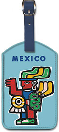 New York Mexico Non Stop - Aviation - Aztec Art - Leatherette Luggage Tags