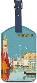 Venice (Venise), Italy - Venetian Grand Canal - Fast Train Daily (Train Rapide Quotidien) - Leatherette Luggage Tags