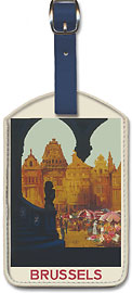 Bruxelles (Brussels) Belgium - On Atteint le Mieux en Chemin de Fer (Is Reached Best by Railway) - Leatherette Luggage Tags