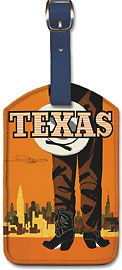 Texas - Braniff International Airways - Cowboy - Leatherette Luggage Tags