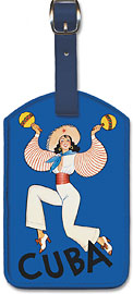 Visit Cuba - Native Cuban Dancer with Maracas - Leatherette Luggage Tags