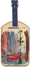 New York City - 5th Avenue and 42nd Street - Fly BCPA to America - British Commonwealth Pacific Airline - Leatherette Luggage Tags
