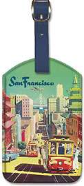 San Francisco California - City View - Trans World Airlines TWA - Leatherette Luggage Tags