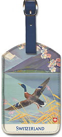 Holidays in Switzerland - Mallard (Wild Duck) takes flight over Lake Lucern - Leatherette Luggage Tags