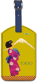 Tokyo Japan - Japanese Girl with Kimono and Mount Fuji - Leatherette Luggage Tags
