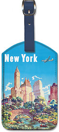 New York - United Air Lines - Gapstow Bridge at Central Park South Pond, Manhattan - Leatherette Luggage Tags