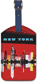 New York, USA Aer Lingus Irish Air Lines - Manhattan Skyline - Leatherette Luggage Tags