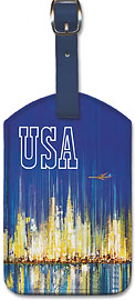 USA Sabena Belgian World Airlines - New York Manhattan Skyline - Leatherette Luggage Tags