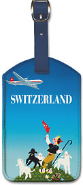 Swissair - Switzerland - Shepherd with Lambs - Leatherette Luggage Tags