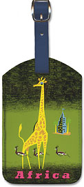 Africa - African Giraffe and Gazelles - Fly by BOAC (British Overseas Airways Corporation) - Leatherette Luggage Tags