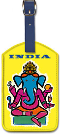 India - Hindu Lord Ganesha (Ganesh) - Leatherette Luggage Tags