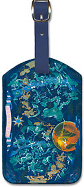 Zodiac - Constellation Map Planisphere - Leatherette Luggage Tags