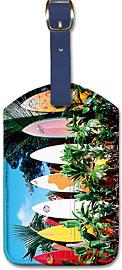Old Surfboards Never Die, Hawaii - Hawaiian Leatherette Luggage Tags