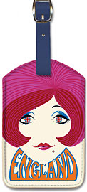England - Red Head Girl - Leatherette Luggage Tags