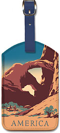 America - Arches National Park - United States Travel Bureau Poster - Leatherette Luggage Tags