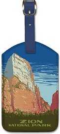 Zion National Park - Great White Throne Mountain - Ranger Naturalist Service Poster - Leatherette Luggage Tags