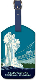 Yellowstone National Park - Old Faithful Geyser - Ranger Naturalist Service Poster - Leatherette Luggage Tags