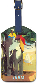 India - Asian Elephant with Mahout Rider - Leatherette Luggage Tags