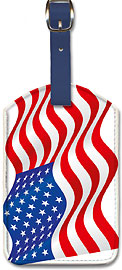 USA Flag - Waving in Wind - Leatherette Luggage Tags