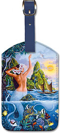 Wahine from the Sea, Hawaiian Mermaid - Hawaiian Leatherette Luggage Tags
