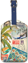 Vintage Collage - Hawaiian Leatherette Luggage Tags