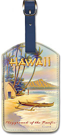 Playground of the Pacific - Vintage Hawaiian Art Leatherette Luggage Tags