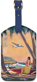 Hawaiian Fantasy, Hula Girl and Outrigger - Hawaiian Leatherette Luggage Tags