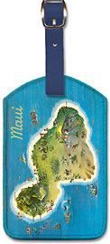 The Island of Maui Hawaii - Pictorial Map - Hawaiian Leatherette Luggage Tags