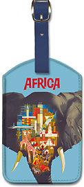 Africa Elephant - Leatherette Luggage Tags