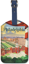 Visit Philadelphia - Independence Hall - Go by Pennsylvania Railroad - Leatherette Luggage Tags