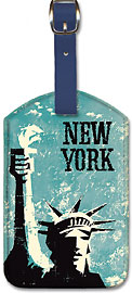 New York - Statue of Liberty - Leatherette Luggage Tags