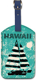 Hawaii - Sailboat Sunset - Hawaiian Leatherette Luggage Tags