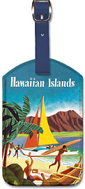 Hawaiian Islands - Hawaiian Leatherette Luggage Tags