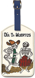 Dia de los Muertos (Day of the Dead) - Dancing Skeletons - Leatherette Luggage Tags